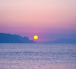 Morning landscape with sunrise over sea