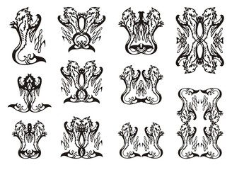 Tribal animal symbols. The young sea dragon with a wing, symbols and frames from it