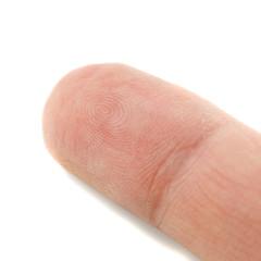 Fingertip on white