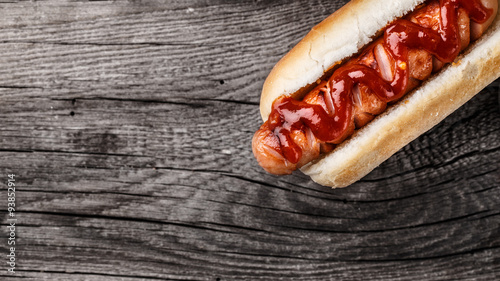 Wall mural Barbecue grilled hot dog