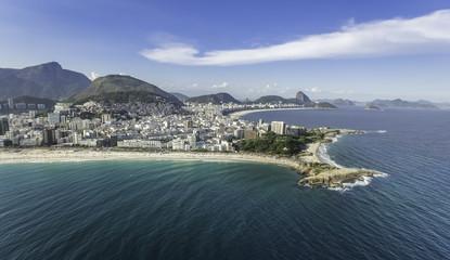 Aerial view Arpoador peninsula in Rio de Janeiro, Brazil