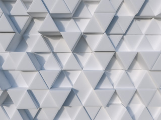 White abstract 3d triangle background