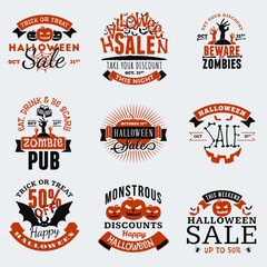 Set of Retro Vintage Happy Halloween Badges, Stickers, Labels. Design Elements for Greetings Card or Party Flyer. Vector Illustration