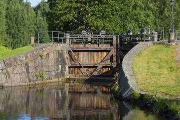 Створ шлюза старинной части Сайменского канала. Финляндия