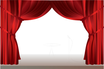 Stage curtains with table.