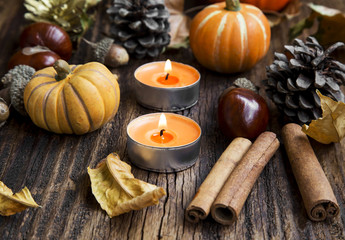 Fall Decoration.Pumpkins,Orange Candles,Cinnamon,Chestnuts and A