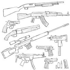 Vector Sketch Set of Firearm Weapons