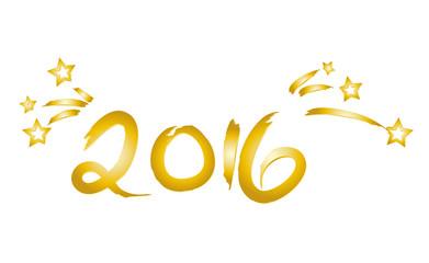 Neujahr 2016 - Jahreswechsel - goldene Jahreszahl mit Sternen und Sternschnuppen - Glückwünsche zu Silvester