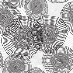 Concentric circles shapes vector seamless pattern, abstract background in geometric style