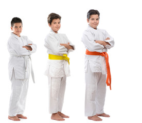 Judo kid starting from white belt to orange belt sequence.