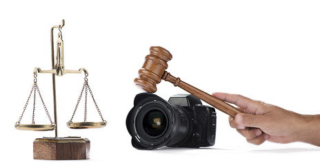 Photography Contest - Scales of justice, camera and Judge gavel