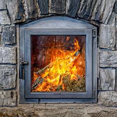 Burning Fireplace.