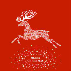 Christmas deer from snowflakes card