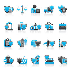 Business and industrial insurance icons  - vector icon set