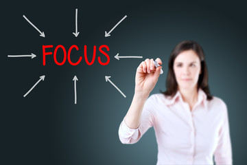 Young business woman target on focus. Blue background.
