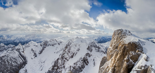 Panorama view of Dolomites mountains