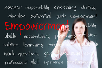 Young business woman writing empowerment concept