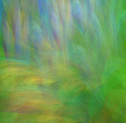 Abstract green background with rainbow grass and tropical forest