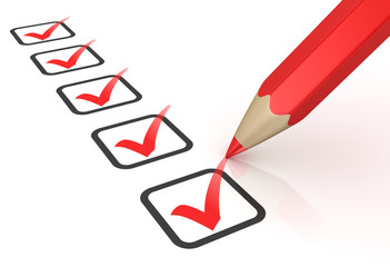 Red ticks in checkboxes and pencil