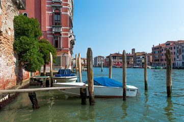 Italy, Venice, canal with boats