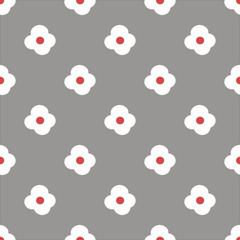 Белые с красным цветы на сером фоне. Детский узор. Бесшовный узор