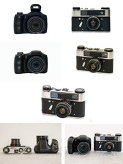 Ultrazoom camera and a classic rangefinder camera. A series of images in a single image.