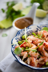 Protein salad with crayfish,edamame and noodle