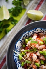 Helthy salad, asian style crayfish and edamame