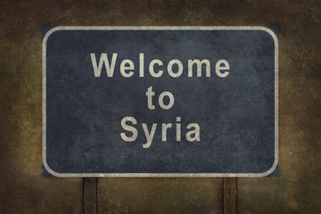 Welcome to Syria roadside sign illustration