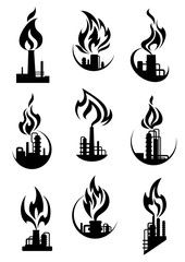 Black industrial chemical factory icons