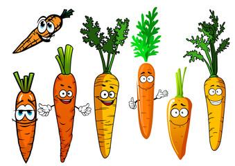 Cartoon isolated orange carrot vegetables