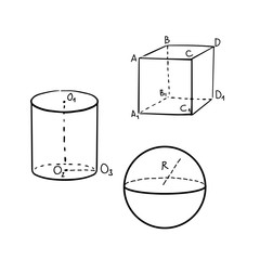 Geometric cube, sphere and cylinder shapes