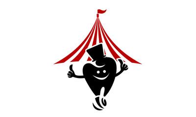 circus cartoon tent and tooth