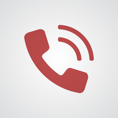 Flat red Phone icon