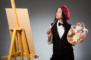 Funny artist working in the studio