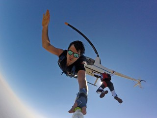 Selfie portrait jumping from the Heli - Skydive
