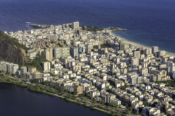 Aerial view of tall buildings on the beach in Rio de Janeiro