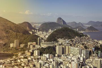 Skyline view of Rio de Janeiro buildings with Sugar Loaf Mountain