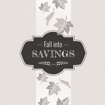 Fall sale autumn leaves black and white seasonal elements banner graphic