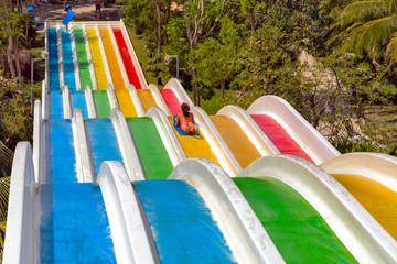 water slike on outdoor swimming pool