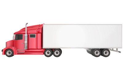 Red 18 Wheeler Class 8 Truck Blank Copy Space Trailer