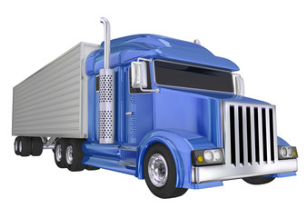 Blue Semi Truck 18 Wheeler Big Rig Hauler