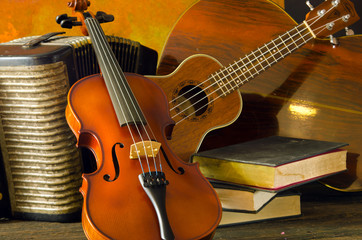 Violin, guitar and books on still-life wooden background