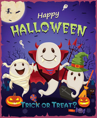 Vintage Halloween poster design with ghost character