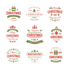 Set typographic christmas vintage labels