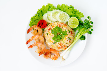 Shrimp fried rice n white background