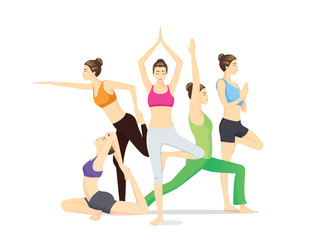 Beauty women group in sportswear posing different yoga posture