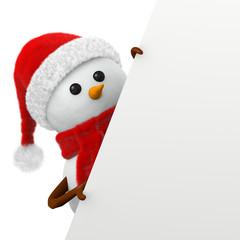 pupazzo di neve natalizio con cartello inclinato