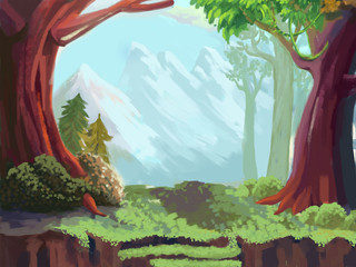 Illustration: The Forest and Mountain. Fantastic Cartoon Style Wallpaper Background Scene Design.