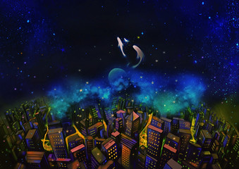 Illustration: The City and the Fantastic Starry Night. With Flying Fish in the Sky. A Good Wish Card appropriate for any event. Fantastic Cartoon Style Wallpaper Background Scene Design.